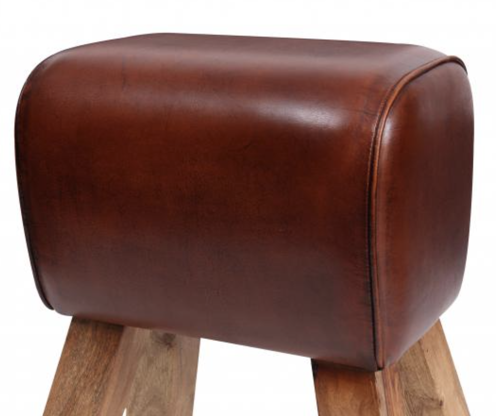 Eclectic Furniture Leather Pommel Horse Stool - Small