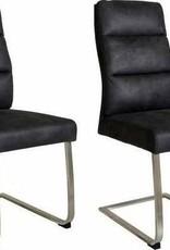 Besp-Oak Dark Grey Faux Leather Dining Chair - Pair