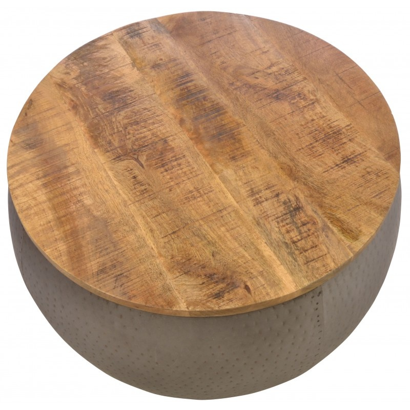 Old Empire Round Wood Top Coffee Table