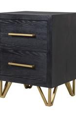 Black & Gold 2 Drawer Bedside
