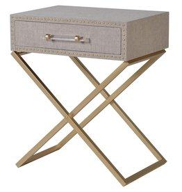 Beige Linen & Gold Cross Leg Bedside / Lamp Table
