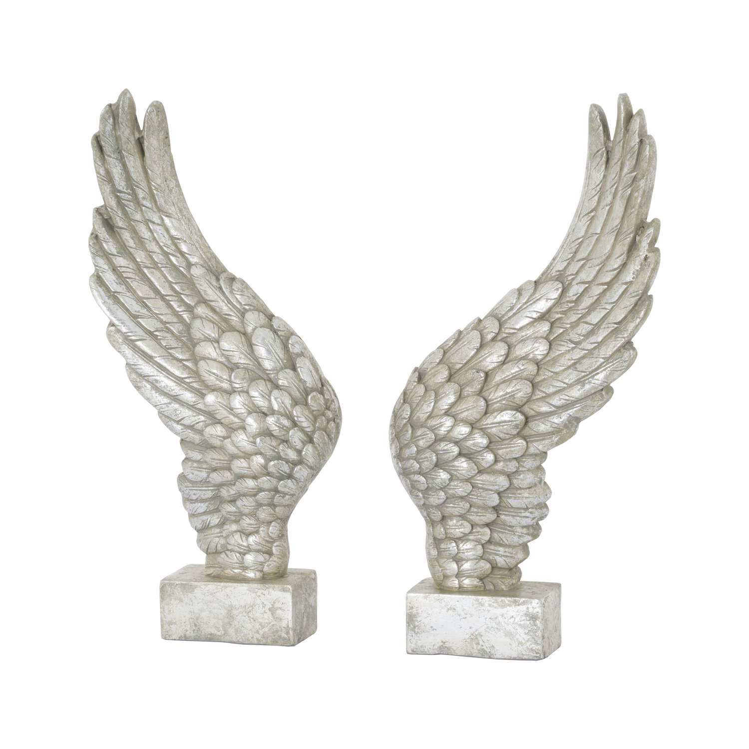 Hill Interiors Large Freestanding Antique Silver Angel Wings Ornament