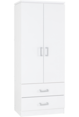 Seconique Charles 2 Door 2 Drawer White Wardrobe