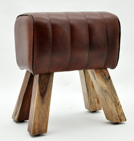 Small Leather Pommel Horse Stool - Brown