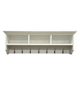 Essentials Antique White Coat Rack with Shelves