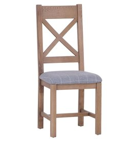 Signature Upholstered Cross Back Chair - Grey Check