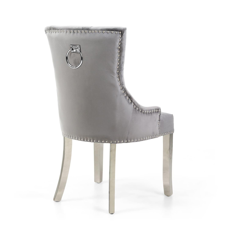 Shankar Chester Velvet Grey Accent Chair Silver Legs