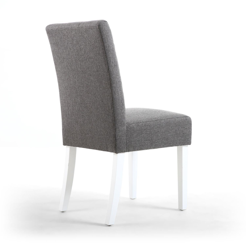 Shankar Moseley Waffle Linen Steel Grey Chair White Legs