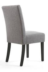 Shankar Moseley Waffle Linen Steel Grey Chair Black Legs