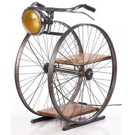 Besp-Oak Vintage Bicycle Wheel Floor Lamp With Shelf