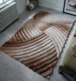 Flair Rugs Verge Furrow Natural Hand Carved Shaggy Rug