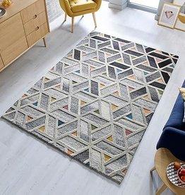 Flair Rugs Moda River Wool Grey Multi Rug - 120 x 170 cm