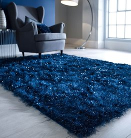 Flair Rugs Dazzle Midnight Blue Plain Shaggy Sparkle Rug - 160 x 230 cm
