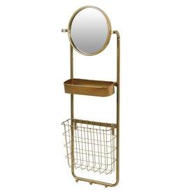 Round Gold Wall Mirror with Shelf & Storage