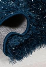 Flair Rugs Dazzle Midnight Blue Plain Shaggy Sparkle Rug - 120 x 170 cm