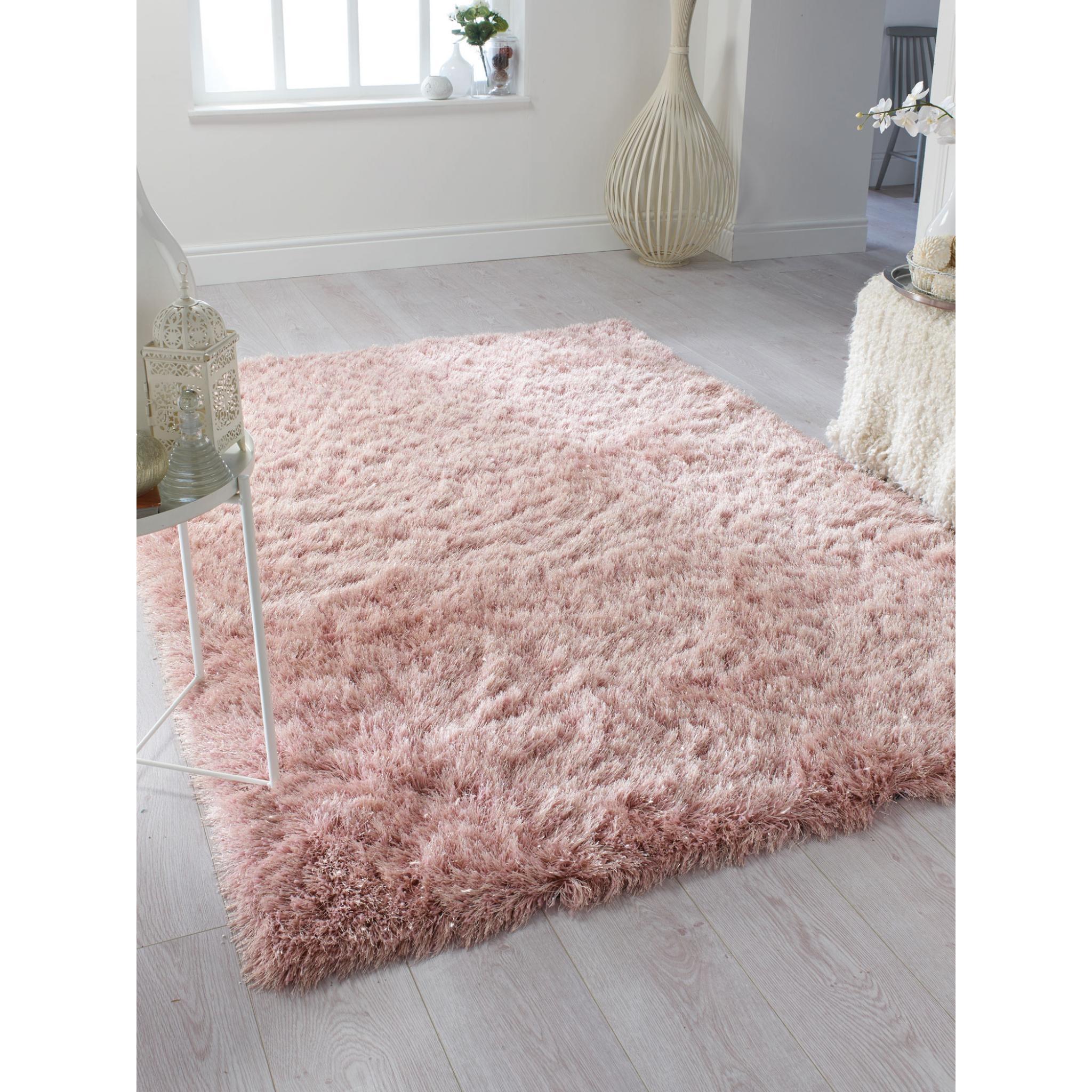 Flair Rugs Dazzle Blush Pink Plain Shaggy Sparkle Rug - 120 x 170 cm