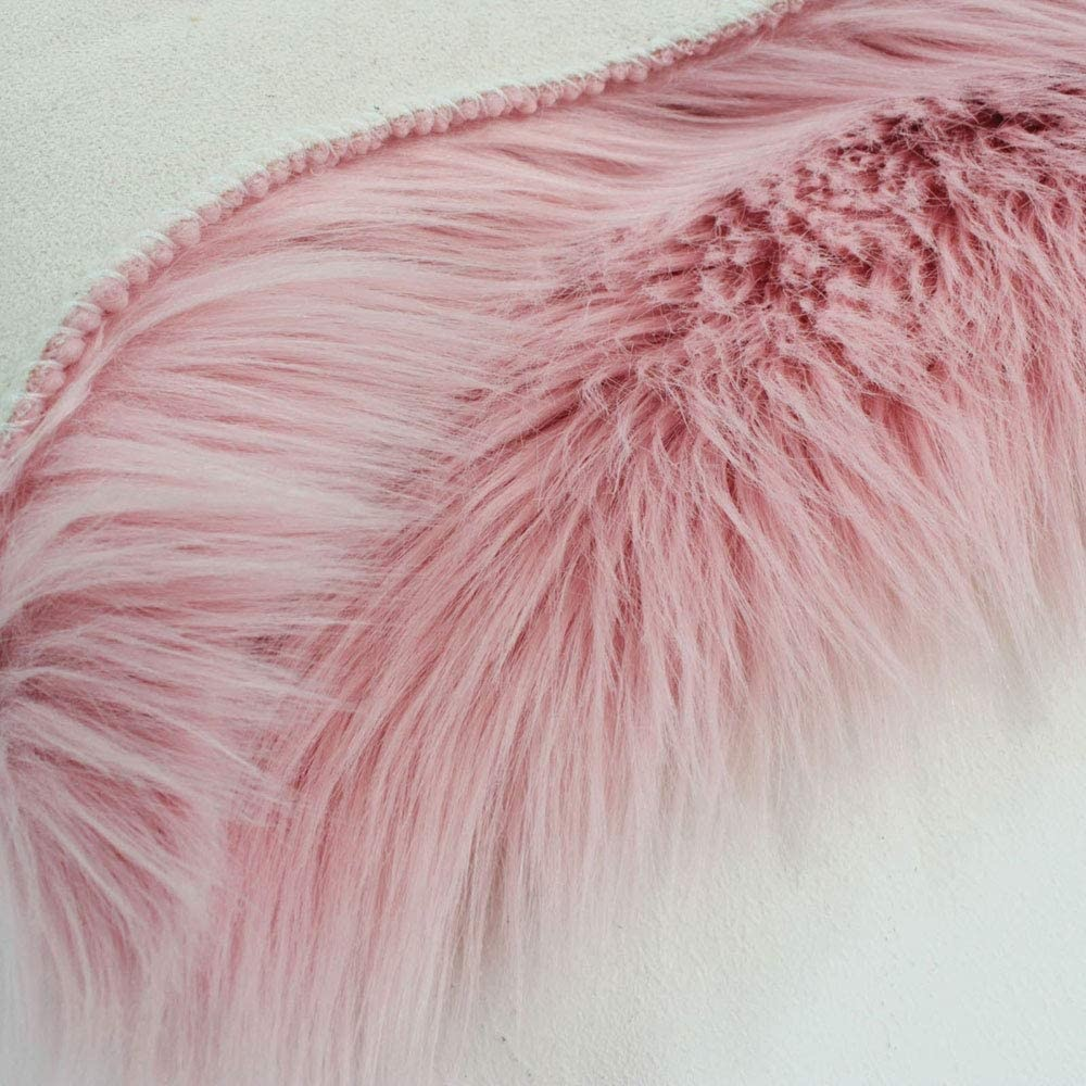 Flair Rugs Faux Faur Sheepskin Pink Plain Shaggy Rug