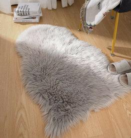 Flair Rugs Faux Faur Sheepskin Grey Plain Shaggy Rug