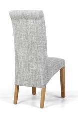Shankar Karta Scroll Back Flax Effect Grey Weave Dining Chair