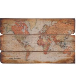 Large Wooden Plaque World Map