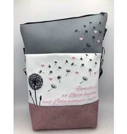 Foldover Pusteblume mit rosa Herzen & Spruch