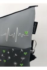 Foldover Pusteblume mit Herzen - grau / anthrazit / schwarz