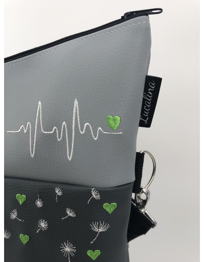 Foldover Dandelion with hearts - grey anthrazit black