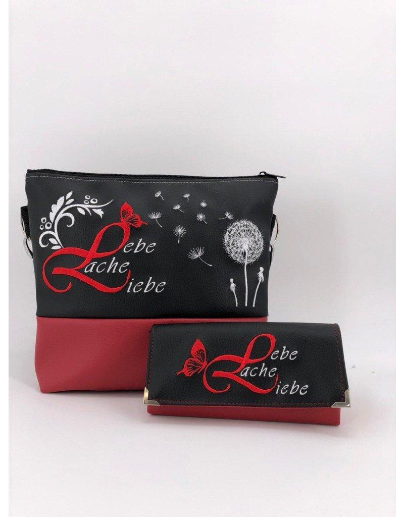 Milow Set - Lebe liebe lache inklusive Geldbörse  - schwarz rot