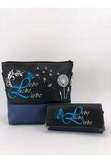 Milow Set - Lebe liebe lache inklusive Geldbörse  - schwarz royalblau
