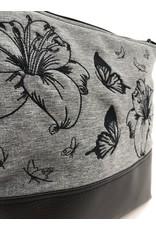 Milow Lilien mit Schmetterlingen - schwarze Stickerei