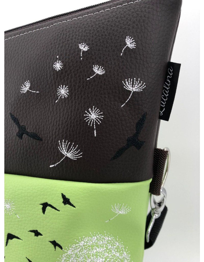 Foldover feather with dandelion & butterfly