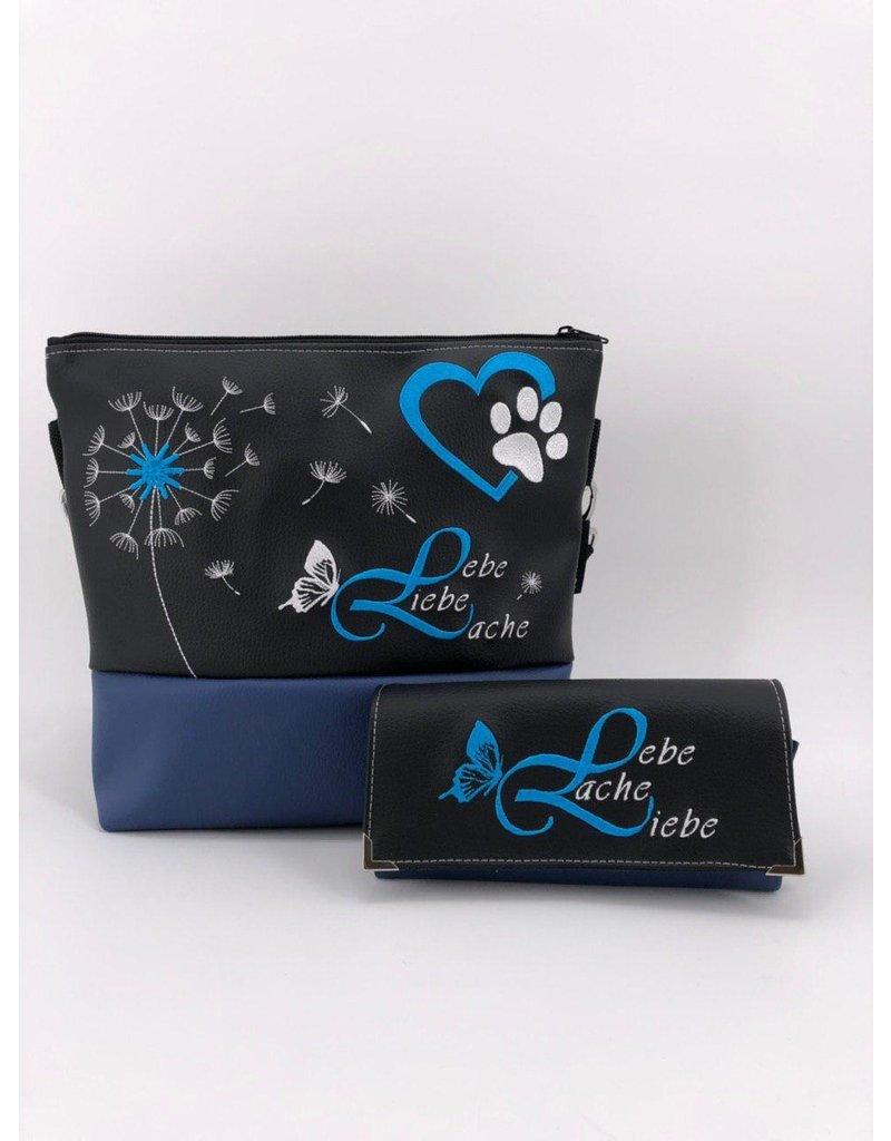 Milow Set - Lebe, Liebe, Lache mit Hundepfote inklusive Geldbörse - blauer Akzent