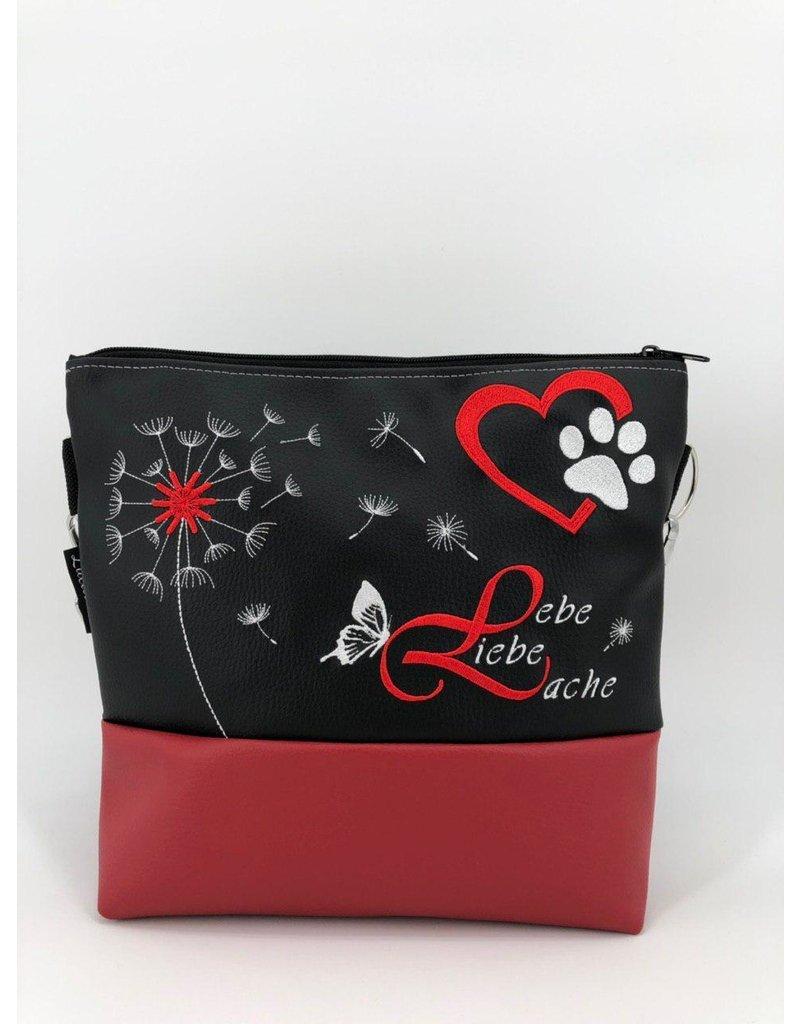 Milow Set - Lebe, Liebe, Lache mit Hundepfote inklusive Geldbörse - roter Akzent