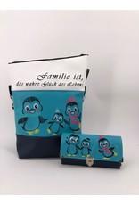 Foldover Set - Pinguinfamile inklusive Geldbörse