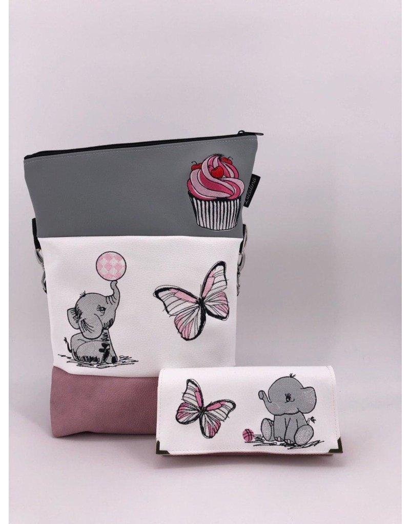 Foldover Set - Elefant mit Cupcake inklusive Geldbörse