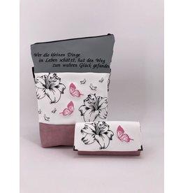 Foldover Set - Lilien mit Schmetterlingen inklusive Geldbörse