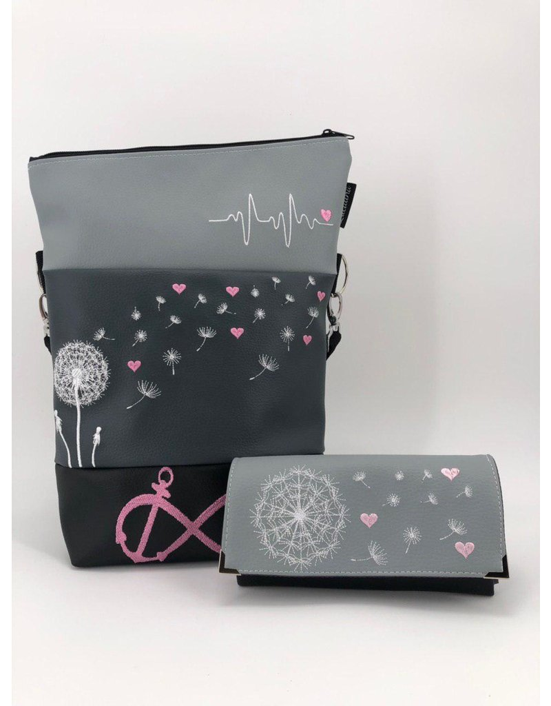 Foldover Set - Pusteblume mit rosa Herzen inklusive Geldbörse