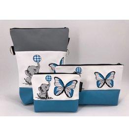 Foldover Set - Elefant mit Schmetterling blau