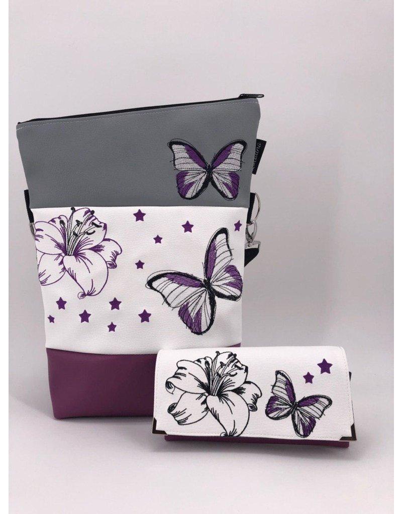 Foldover Set - Lilie mit Schmetterling inklusive Geldbörse