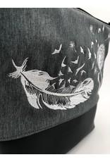 Milow Feder mit Pusteblume - weiße Stickerei
