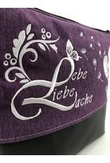 Milow Lebe, Liebe, Lache - weiße Stickerei