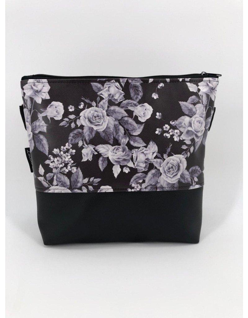 Milow Set - weiße Blumen (Druck) schwarz inkl. Clutch