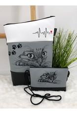 Foldover Set - Katze mit EKG inkl. Clutch