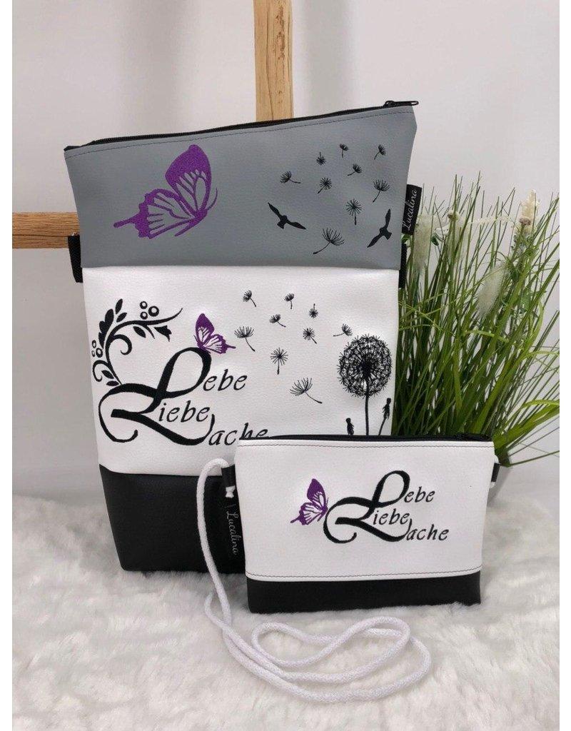 Foldover Set - Lebe, Liebe, Lache mit lila Schmetterling inkl. Clutch