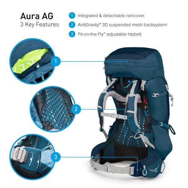 aa930ab586f Osprey Aura AG dames backpack 50 liter Challenger Blue - Kopen ...