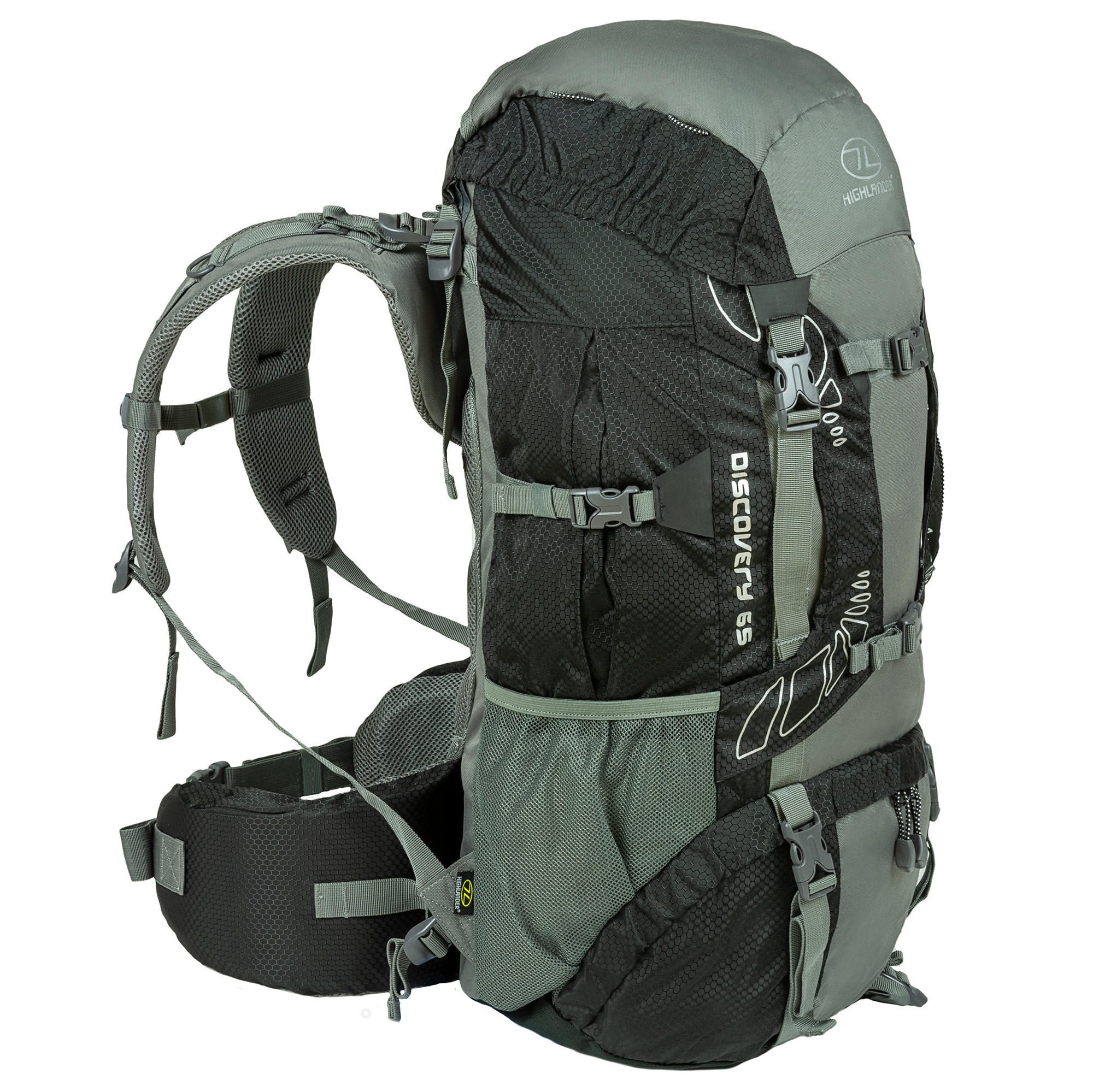 1370640793f Highlander Discovery 65l backpack - zwart | Backpackspullen.nl