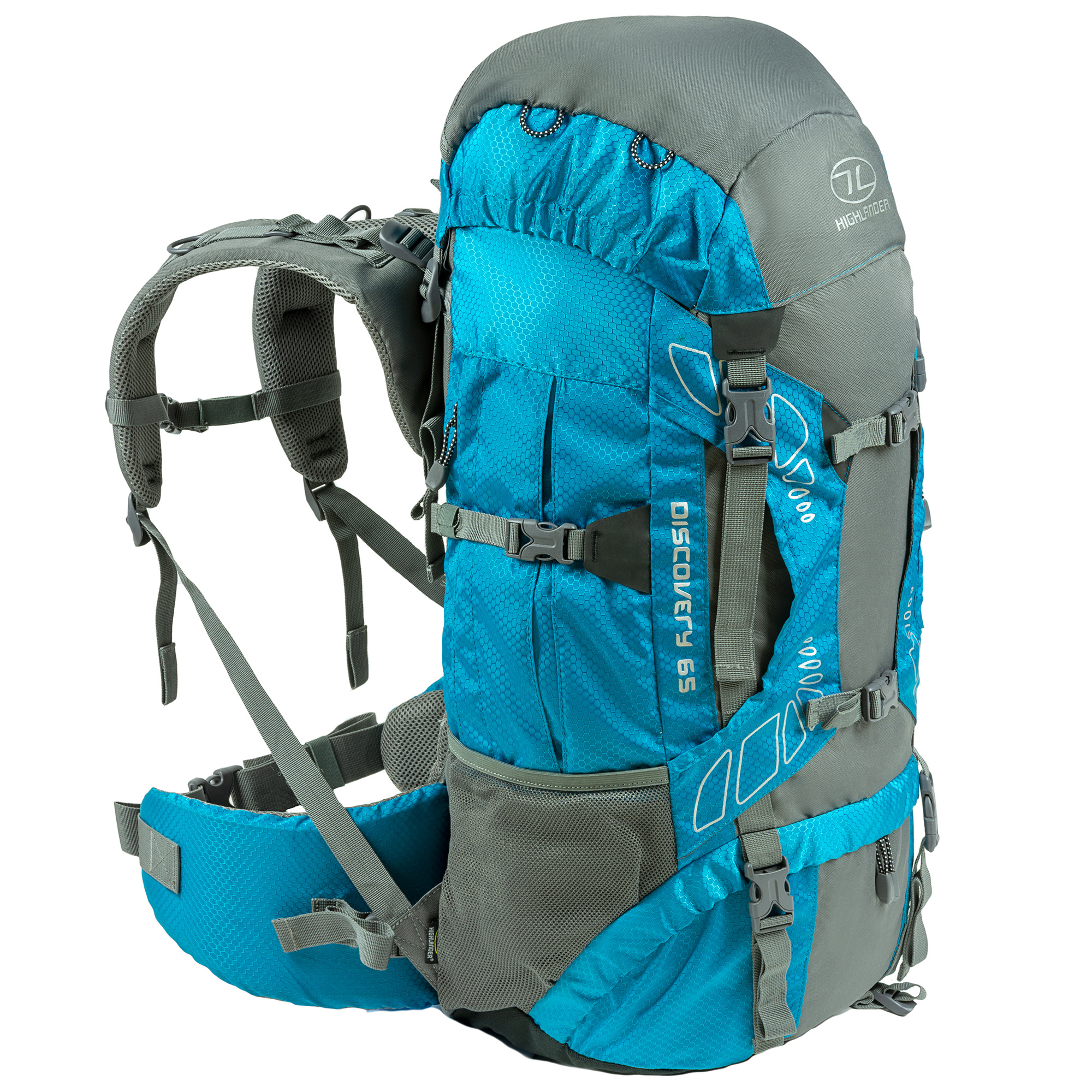 40c7ab0410b Highlander Discovery 65l backpack - teal blauw | Backpackspullen.nl