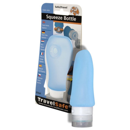 Travelsafe Squeeze Bottle 89 ml siliconen reisflesje - blauw