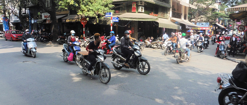 1. Verkeersdrukte in Hanoi Vietnam