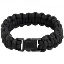 Paracord armband - incl. noodfluit - Zwart
